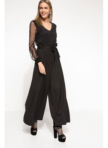 DeFacto Kolları Tül Detaylı Gece Elbisesi Siyah